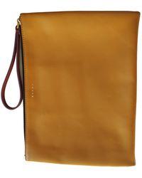 Marni Leather Clutch Bag - Yellow
