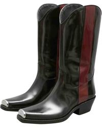 CALVIN KLEIN 205W39NYC Leather Cowboy Boots - Black