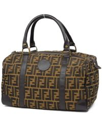 Fendi Brown Cloth Travel Bag