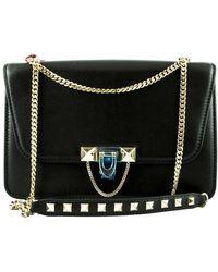 Valentino Demilune Black Leather Handbag