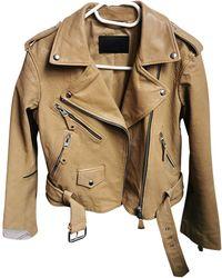 AllSaints Leather Biker Jacket - Natural