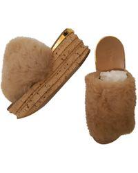 Chloé - Camille Beige Cloth Sandals - Lyst