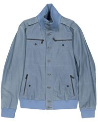 Bottega Veneta - Blue Leather Jacket - Lyst