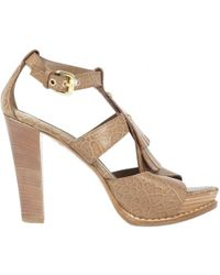Louis Vuitton - Brown Leather Sandals - Lyst