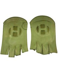 Hermès Leder Halbfingerhandschuhe - Grün