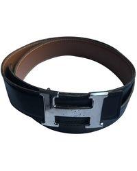 Hermès Cinturón H de Cuero - Negro