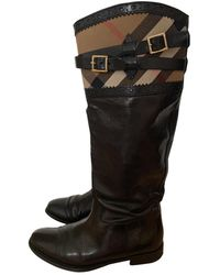 Burberry Leather Riding Boots - Black