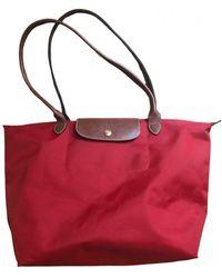 Longchamp Pliage Leinen Handtaschen - Rot