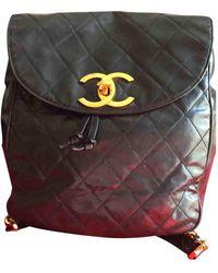 Chanel Mochila en lona negro