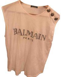 Balmain Top en Coton Blanc - Multicolore