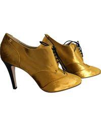Chanel Gold Velvet Ankle Boots - Multicolour