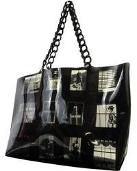 e8e34d12fbbf Lyst - Chanel Plastic Chain Totebag Handbag Blackxivory ...