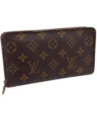 Louis Vuitton Zippy Brown Cloth Wallet