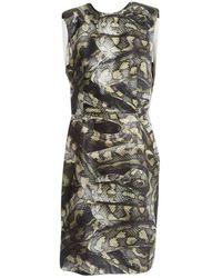 Lanvin - Khaki Silk Dress - Lyst