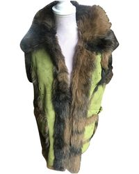 Balmain Faux Fur Biker Jacket - Green