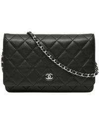 Chanel Wallet On Chain Leather Crossbody Bag - Black