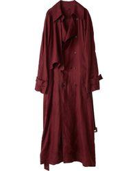 Acne Studios Burgundy Cloth Coats - Multicolour