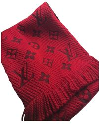 Louis Vuitton Logomania Red Wool Scarf