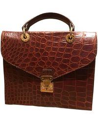 Jil Sander Vintage Burgundy Crocodile Handbag - Multicolor