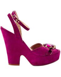 Marc Jacobs - Pink Suede Sandals - Lyst