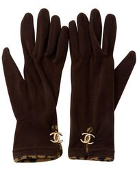 Chanel \n Brown Synthetic Gloves