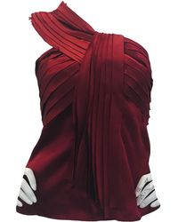 Oscar de la Renta Red Silk Top