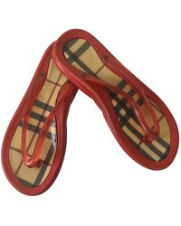 Burberry Flip Flops - Red