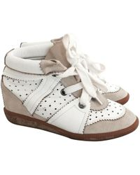 ec5aa88411f Lyst - Isabel Marant Leather Betty Wedge Sneakers 50 in White