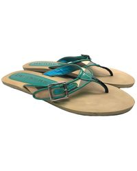 Burberry Patent Leather Flip Flops - Green