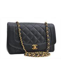 Chanel - Vintage Diana Black Leather Handbag - Lyst