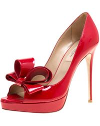 Valentino - Red Leather Heels - Lyst