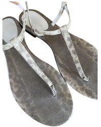 Bottega Veneta Lizard Flip Flops - Natural