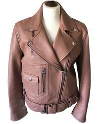 Acne Studios Leather Biker Jacket - Orange