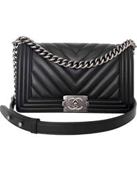 Chanel Boy Leather Handbag - Black