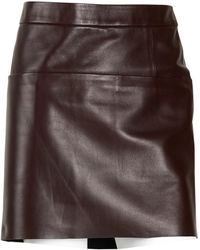 Celine Leather Mini Skirt - Brown
