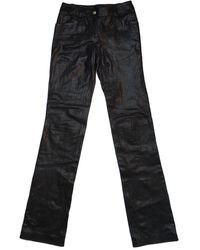 Chanel Leather Straight Pants - Black
