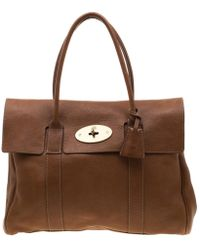 8c8a8e228d Mulberry Small Zipped Bayswater Striped Leather Tote - Lyst