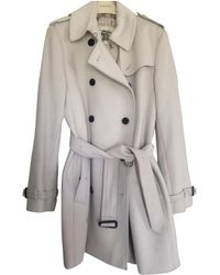 Burberry - Pre-owned Grey Wool Coats - Lyst
