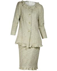 Chanel Green Tweed Skirt