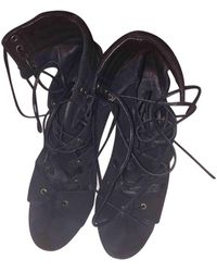 Maje Sandales en Cuir Noir - Multicolore