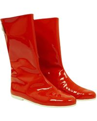 Courreges Patent Leather Boots - Red