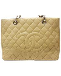 Chanel Bolsa de mano en cuero beige Grand shopping - Neutro