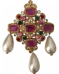 Chanel - Pink Gold Plated Pin & Brooche Matelassé - Lyst
