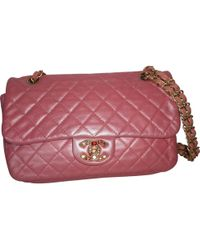 2c14b8edbb6d Lyst - Chanel Wallet On Chain Pink Leather Clutch Bag in Pink