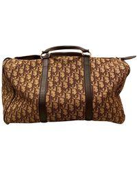 Dior Bolsa de mano en algodón marrón