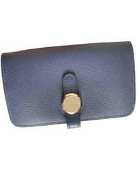 Hermès Dogon Blue Leather Wallet