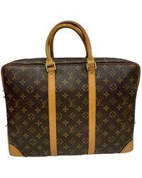 Louis Vuitton - Porte Documents Voyage Brown Polyester Bag - Lyst