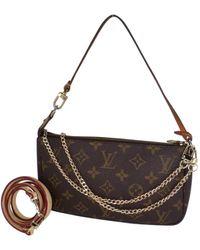 Louis Vuitton Pochette Accessoire Brown Cloth Clutch Bag