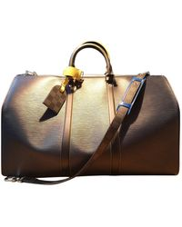 Louis Vuitton Keepall Leather Weekend Bag - Brown