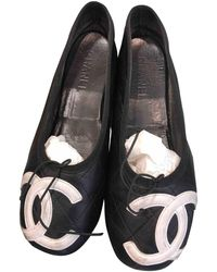 Chanel Cambon Leather Ballet Flats - Black